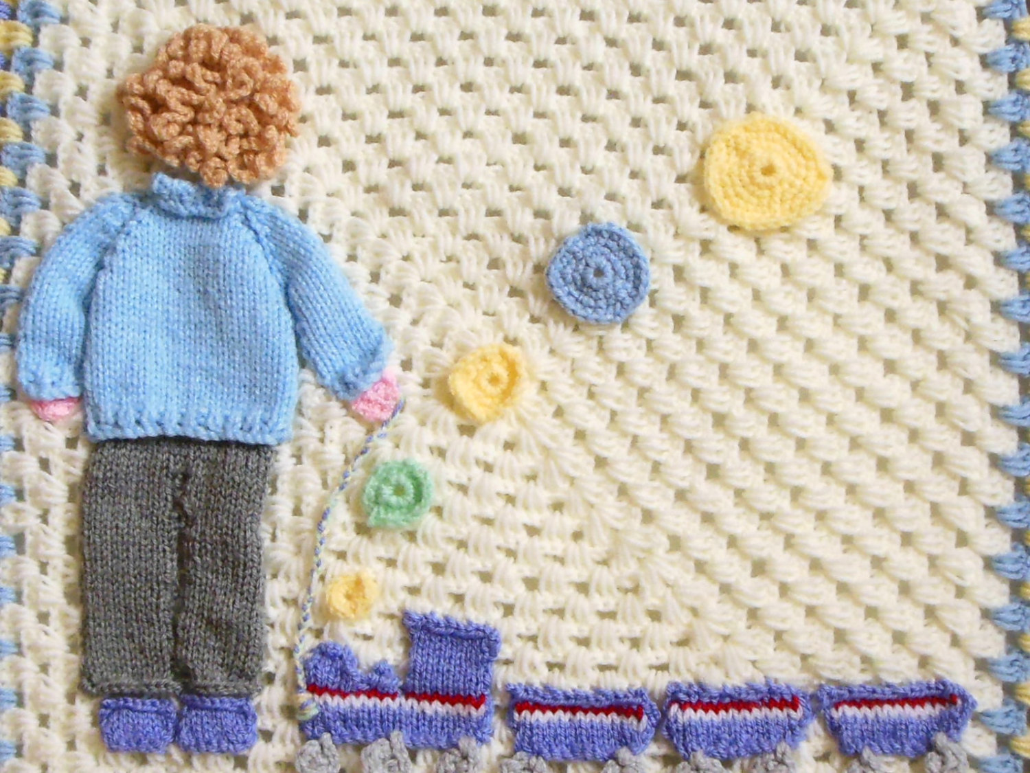 train crochet baby blanket for boys