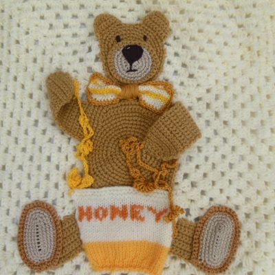 Baby Knitting Patterns Sleep Tight Teddy Bear Blanket Pattern ... | 400x400