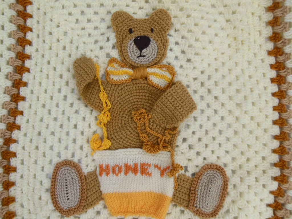 Crochet Teddy Bear Blanket, Personalised Baby Blanket, Bear Lovers ...