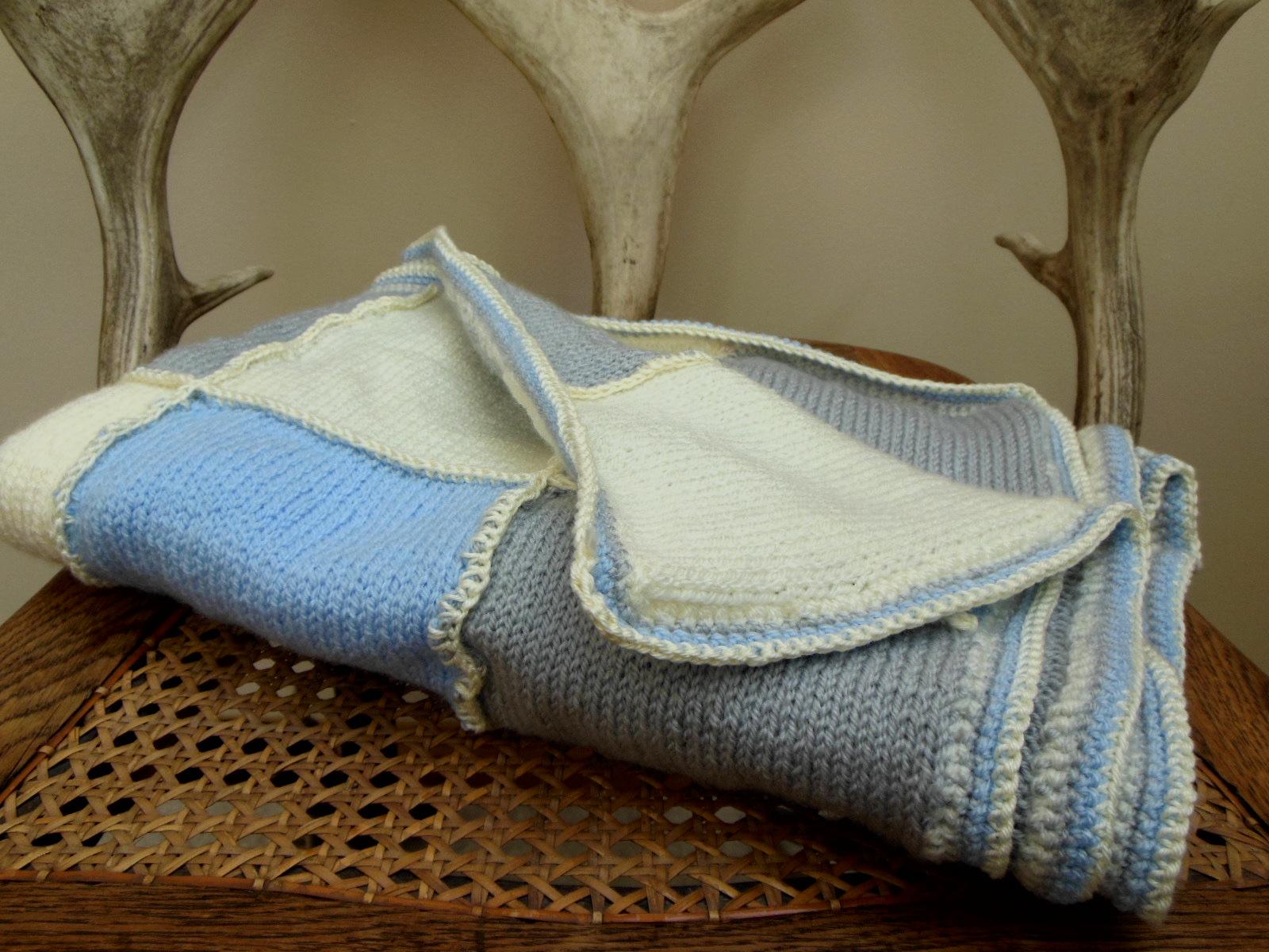 Hand Knit Baby Blanket Cream Blue Grey Wool Gift For Boy