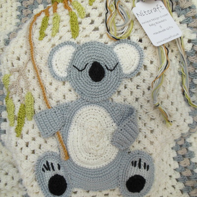 personalised koala bear - crochet baby blanket 009