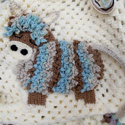 crochet highland cow baby blanket